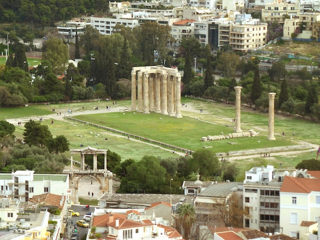 Arch of hadrian and temple of olympian zeus as seen from areopagus hill or mars hill, athens, greece