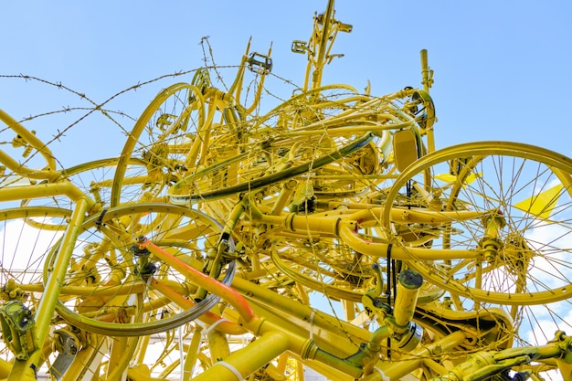 Arch made from yellow bicycles in brussels