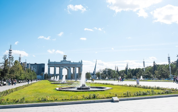 Arch of the main entrance of a monument in moscow