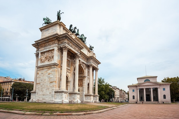 Arch of peace, or arco della pace, city gate in the centre of the old town of milan
