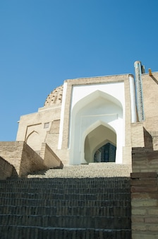 The arch and steps the exterior design of the ancient registan in samarkand architecture of asia