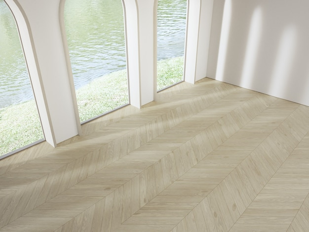 Arch window near white concrete wall on empty wooden parquet floor of bright living room