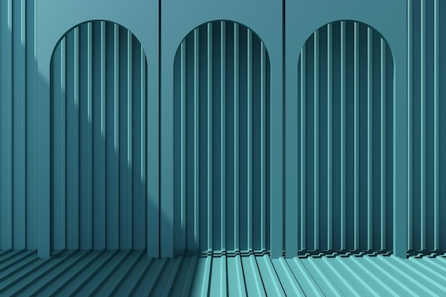 Arch with blue metal sheet 3d render