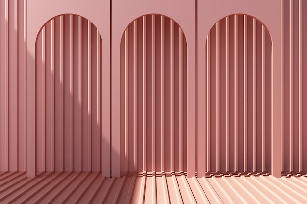 Arch with pink pastel metal sheet 3d render