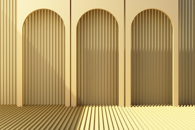 Arch with yellow pastel metal sheet 3d render