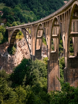 Arched automobile bridge over river into deepest canyon