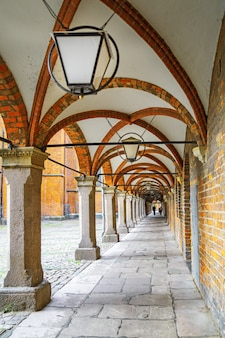 Arched corridor ceiling in lubeck old town.