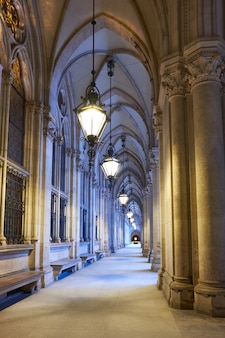 Arched passage in front of the city hall (rathaus) in vienna, austria