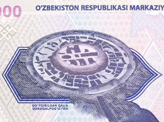 Archeological monument of jonboxqal from uzbekistani money