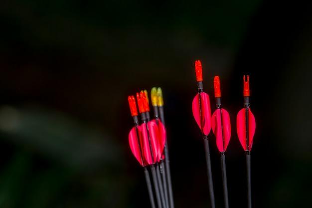 Archery arrows on a black