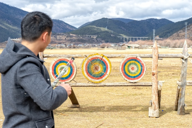 Archery it is mainly a competitive sport and recreational activity. focus on the targets.