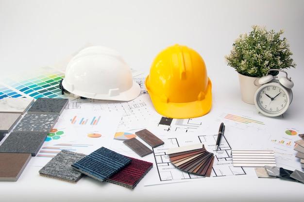Architecのテーブルの材料設計のセット。