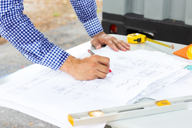 Architect engineer design working planning concept