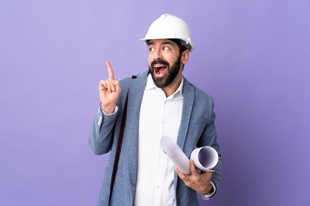 Architect man over isolated background