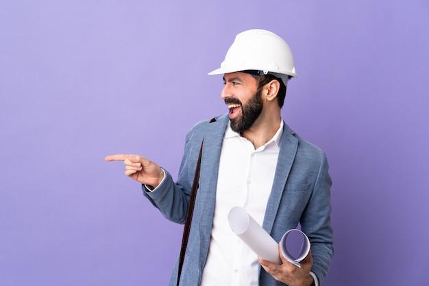 Архитектор человек над изолированной поверхностью