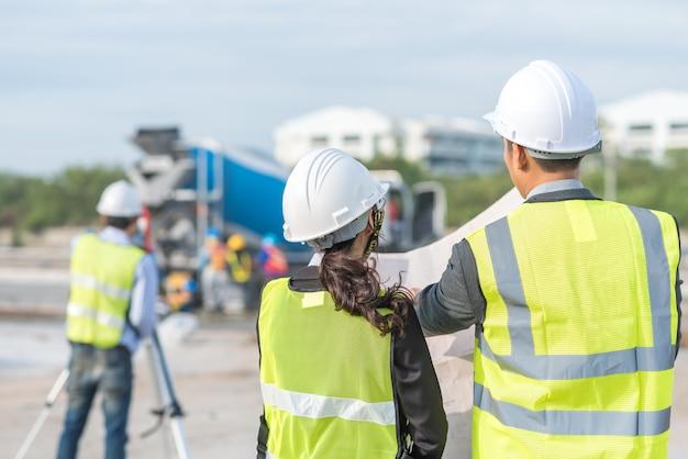 Architect survey at construction site