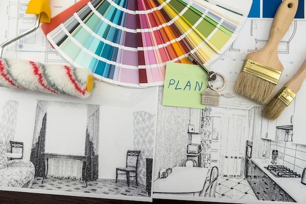 建築およびエンジニアリング住宅のコンセプト。青写真ブラシ、ステッカーのインテリア作品の色のパレット