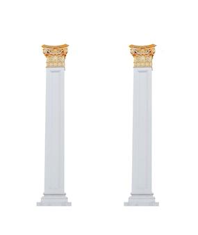 白い背景の上の建築柱。