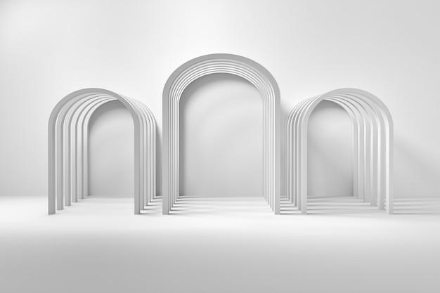 흰색 바탕에 아치 건축 구성입니다. 3d 그림.