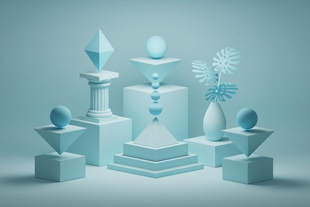 Архитектурная композиция с основными низкополигональными формами, колонной и вазой с монстерами в синем цвете