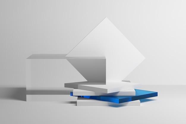 무광택 및 투명한 파란색 유리로 쌓인 플레이트와 회전된 사각형이 있는 건축 구성
