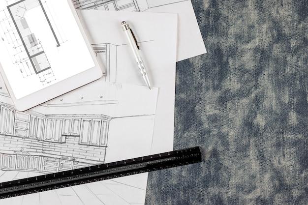 주방 프로젝트의 건축 맞춤 리모델링은 주방을 설계 청사진 도면의 프로세스로 만듭니다.