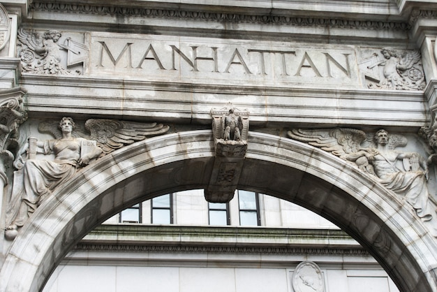 Architectural detail of a building, lower manhattan, new york city, new york state, usa