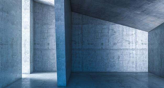 Архитектурная деталь в бетоне, интерьер, никого вокруг. 3d визуализация.