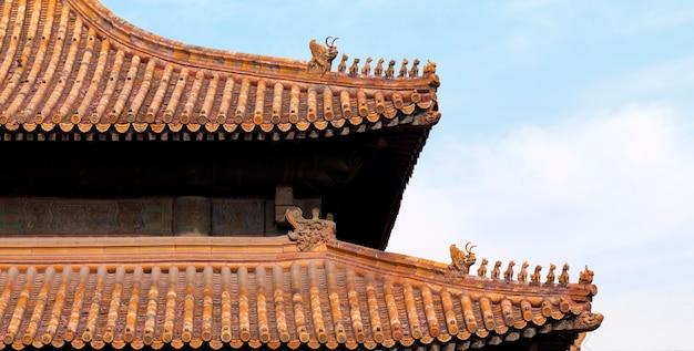 Архитектурная деталь дворца в запретном городе, пекин, китай