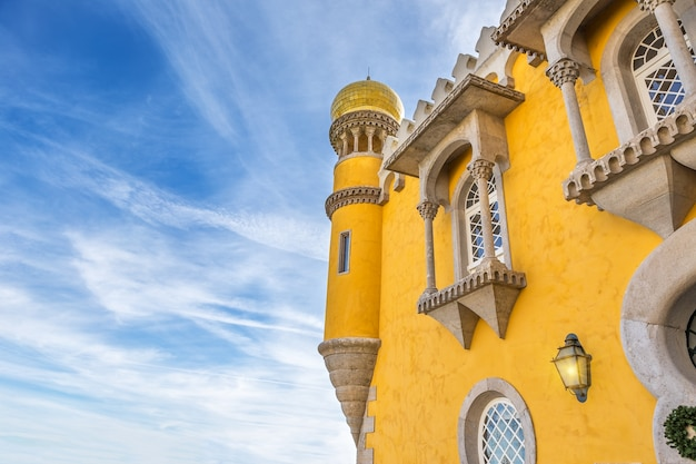 Architectural details of the castle pena. sintra portugal.