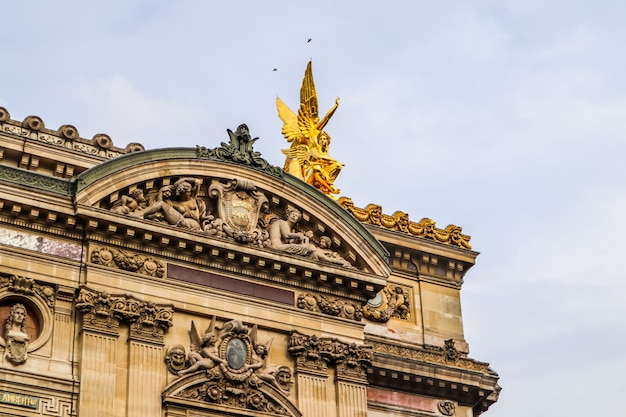 Architectural details of facade of paris opera palais garnier france april