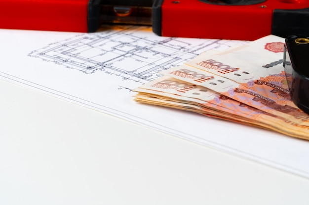 Architectural drawing and russian rubles