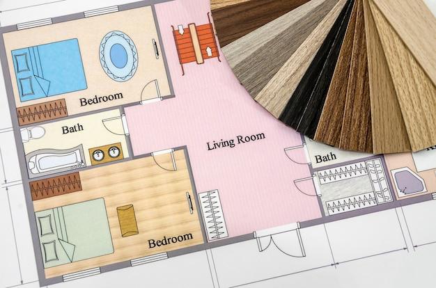 종이에 건축 도면 및 색상 샘플