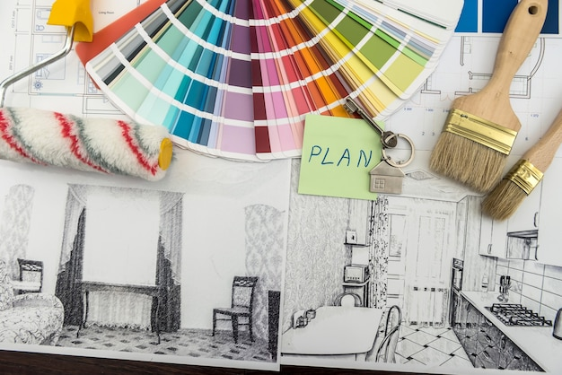 Architectural and engineering housing concept. palette of colors designs for interior works on blueprints brush, sticker