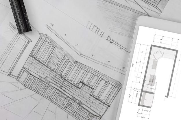 건축 주방 프로젝트는 맞춤형 주방 설계 도면에 따라 청사진을 만듭니다.
