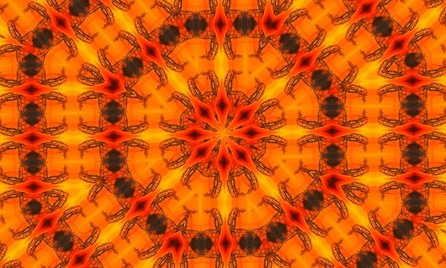 建築のオレンジ色の青写真の背景。オレンジ色の万華鏡、モダンなイラスト