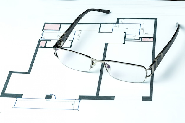 Architectural project and glasses
