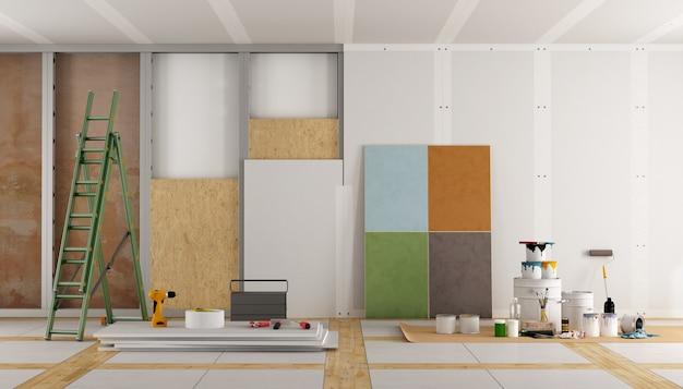 오래된 방의 건축 복원 및 색상 견본 선택. 3d 렌더링