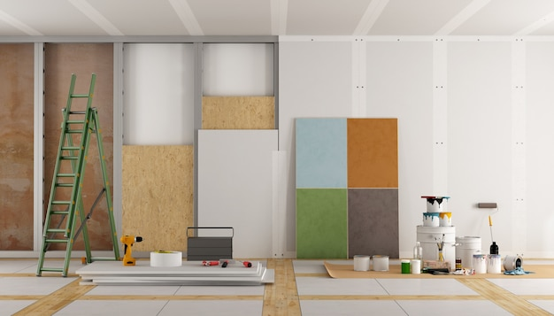 Architectural restoration of an old room and selection of the color swatch. 3d rendering