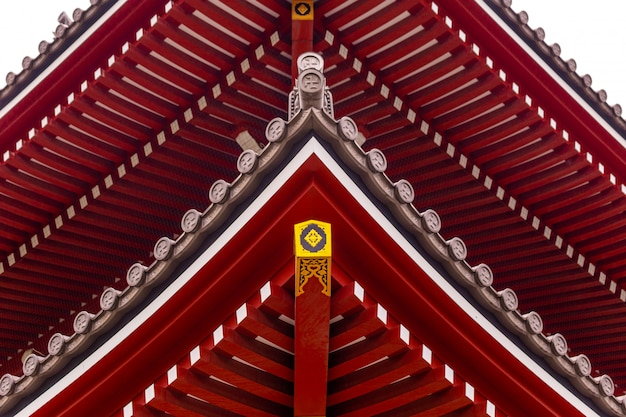 The architectural roof of a temple in japan.
