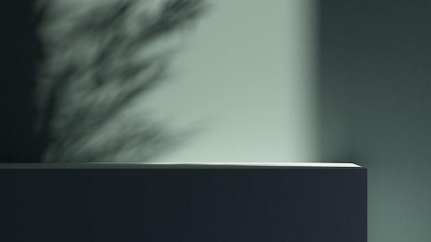 제품 프레젠테이션을 위한 아키텍처 및 자연광 녹색 배경. 3d 렌더링 그림입니다.