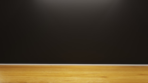 Architecture background with black wall and detailed minimalist realistic wood floor