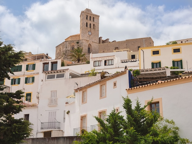 Architecture and cathedral of dalt vila in ibiza, spain