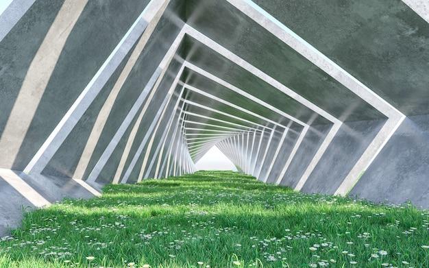 芝生のある建築回廊。コンセプトデザイン。 3dレンダリング