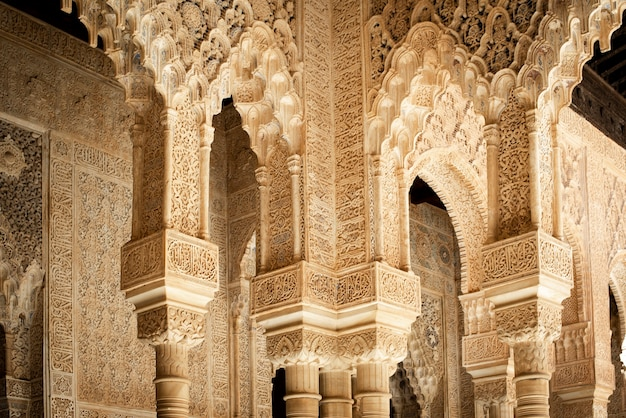 Architecture detail of the alhambra palace, granada, spain