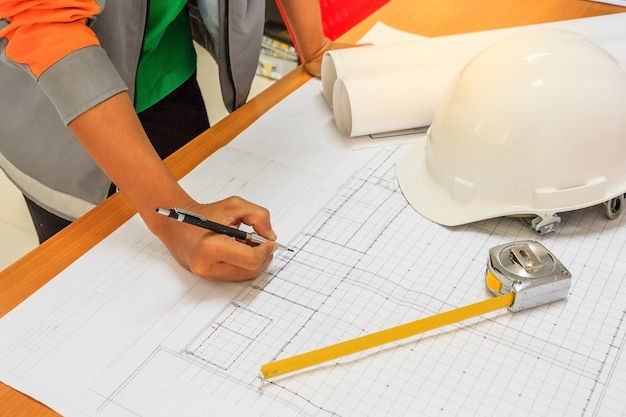Architecture drawing on blueprint architectural concept with architect equipment