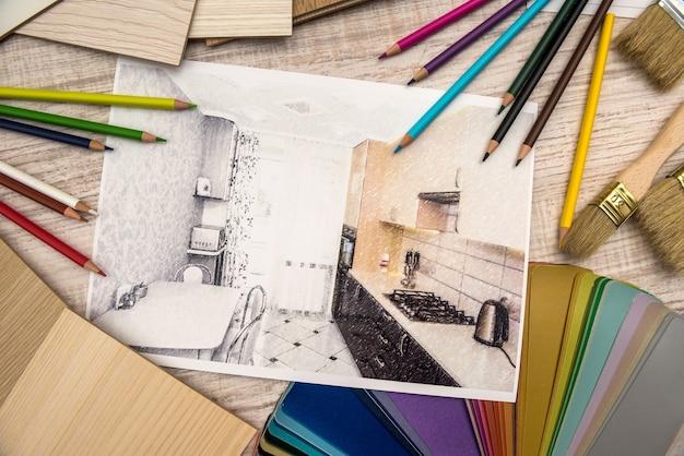 色鉛筆で建築図面