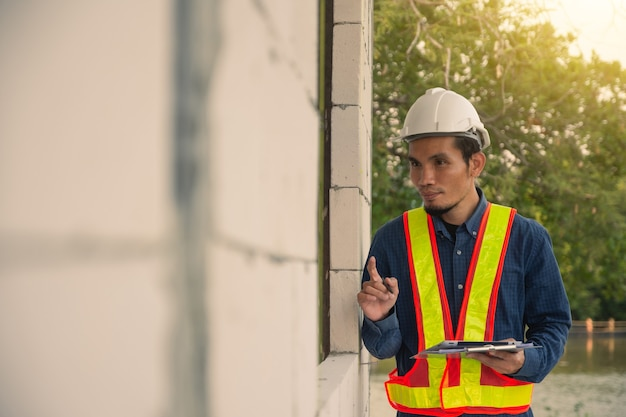 Architecture engineer inspection on site construction real estate