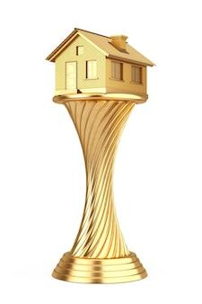 建築家賞のコンセプト。白い背景の上のゴールデンアワードトロフィーハウス。 3dレンダリング