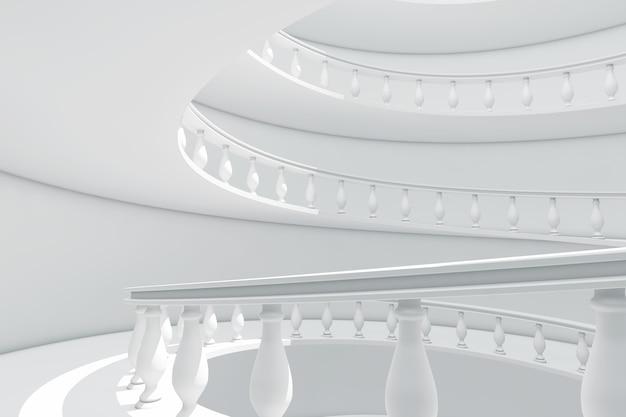 Архитектура в классическом стиле спиральная балюстрада путь между крупным планом этажей крайним. 3d рендеринг